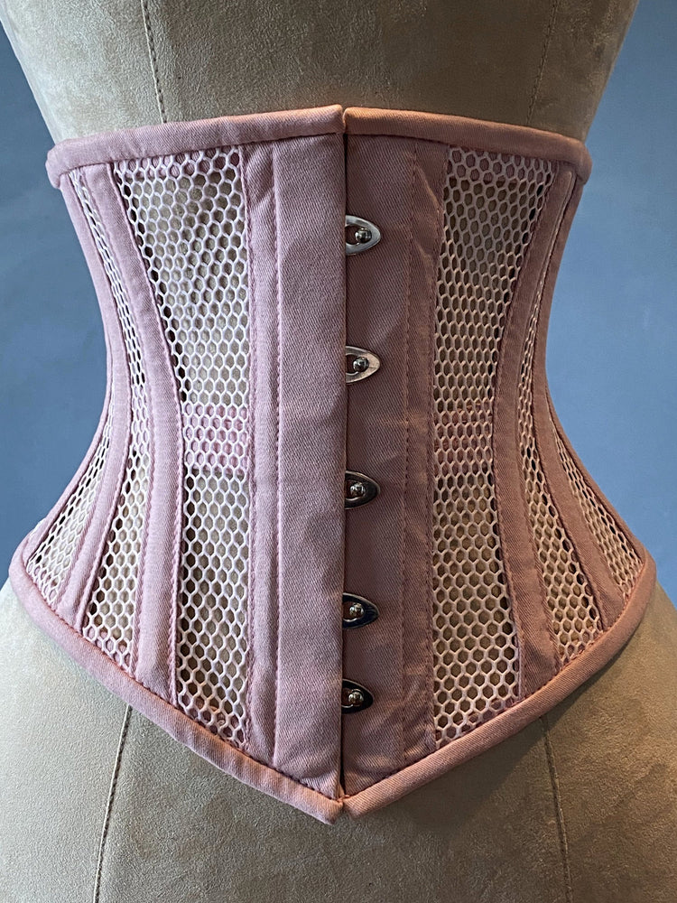 Real steel boned underbust underwear pink corset from transparent mesh and cotton. Real waist training corset for tight lacing. - Corsettery Authentic Corsets USA