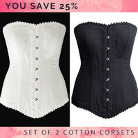 The set of 2 overbust corsets: black and white, you save 25%. Steelbone custom made corset, gothic, steampunk, bespoke, victorian
