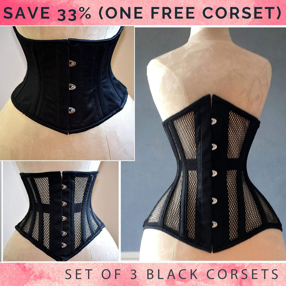 The set of black 3 best sellers corsets: waspie and black mesh underbust corsets. Real waist training corset for tight lacing.-Corsettery