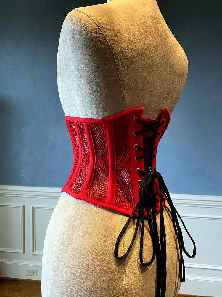 Real steel boned underbust underwear red corset from transparent mesh and cotton. Real waist training corset for tight lacing. - Corsettery Authentic Corsets USA