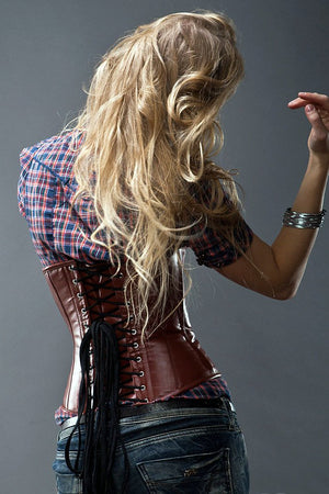 Lambskin waist steel-boned authentic corset, different colors. Leather corset for tight lacing