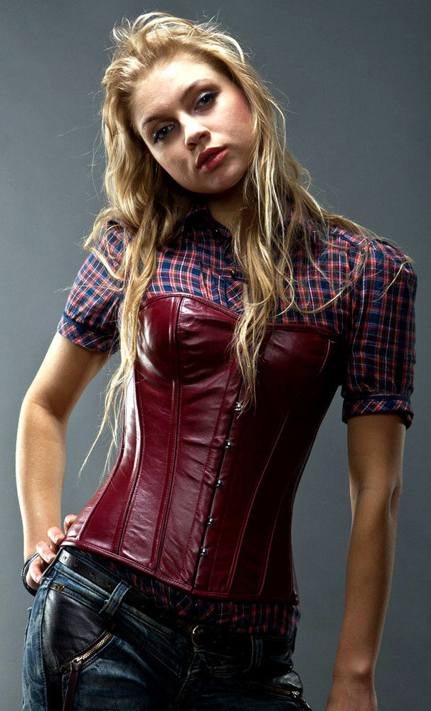 Lambskin short overbust sweetheart steel-boned authentic corset