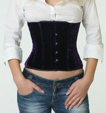 Authentic steel-boned velvet underbust corset, different colors