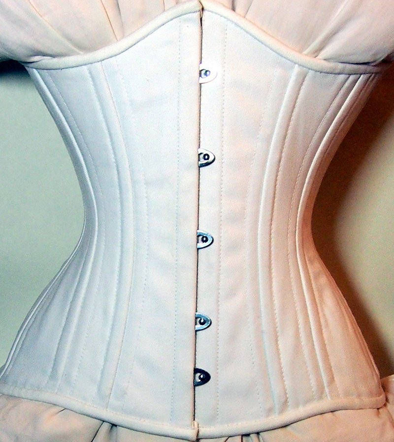Real double row steel boned underbust corset from cotton. Waist training fitness edition