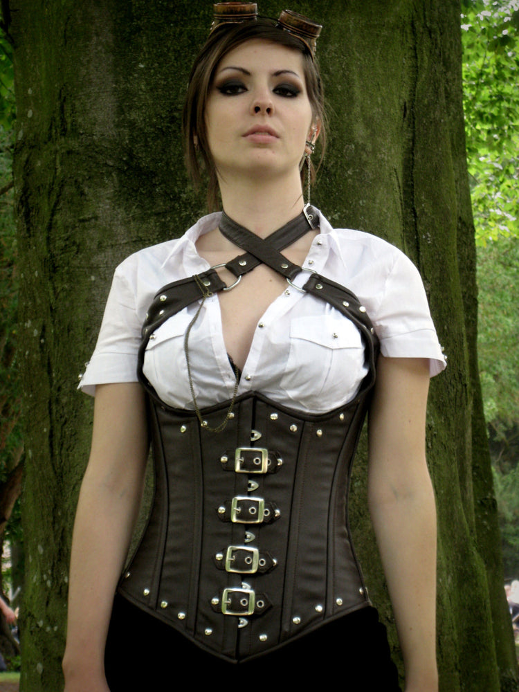 Lambskin steampunk style underbust corset with metal decor, authentic steel-boned custom made corset for waist training and tight lacing - Corsettery Authentic Corsets USA