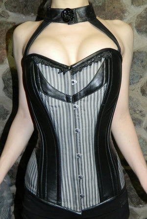 Stylish gothic corset designed by PorcelainPanic: overbust exclusive punk rock corset with strap and collar made from lambskin and fabric