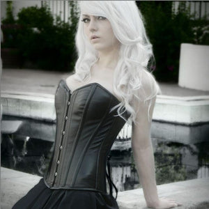 Classic overbust lambskin steel-boned authentic heavy corset, different colors.-Corsettery