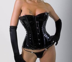 Shiny PVC halfbust steel-boned authentic heavy corset, different colors. - Corsettery Authentic Corsets USA