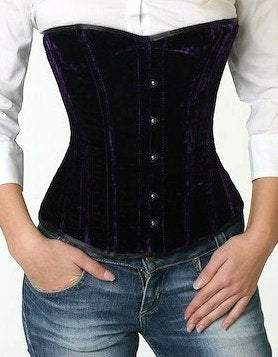 Over bust velvet steel-boned authentic heavy corset for tight lacing made to measures - Corsettery Authentic Corsets USA