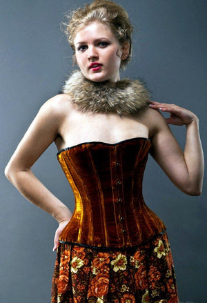Velvet halfbust steel-boned authentic heavy corset, different colors. Dark gold (rust) color and classic Victorian design for steampunk