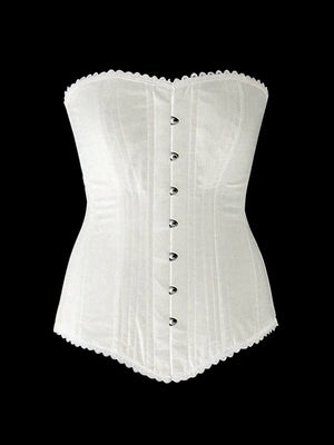 The set of 2 overbust corsets: black and white, you save 25%. Steelbone custom made corset, gothic, steampunk, bespoke, victorian - Corsettery Authentic Corsets USA