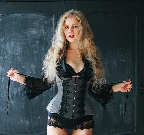 "Sample sale 20"" and 24"" waist. Exclusive corset covered by laces. Lace Addicted Corsettery collection."