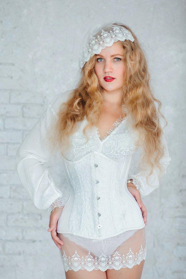 Exclusive white bridal steel-boned corset for tight lacing covered by laces. Lace Addicted Corsettery collection. Wedding, bridal corset - Corsettery Authentic Corsets USA