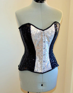 Shiny glitter overbust authentic corset with long hip-line. Steel-boned for tight lacing. Prom, shiny burlesque, cosplay, couture corset - Corsettery Authentic Corsets USA