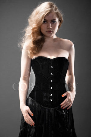 Classic victorian velvet corset, black, rust, blue, red, green, violet available. Gothic Victorian, steampunk affordable cheap corset