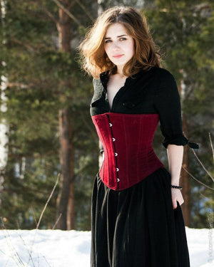 Classic victorian underbust fake suede corset, black, maroon, brown available. Historical, gothic, steampunk, victorian, prom, waisttraining - Corsettery Authentic Corsets USA