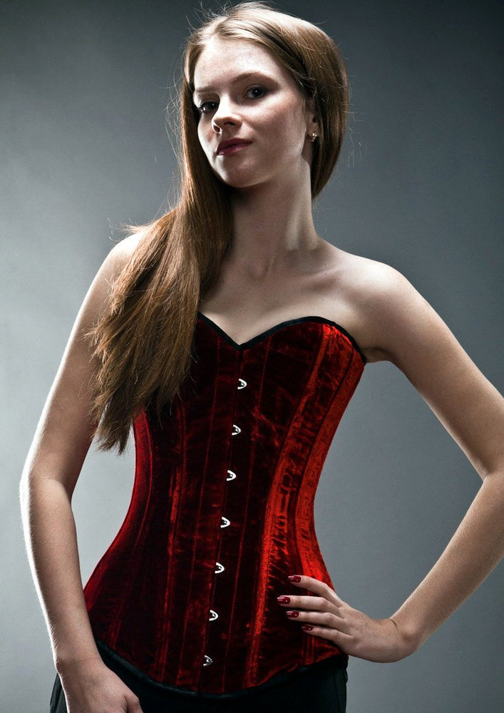 Exclusive long velvet corset, black, rust, blue, red, green available. Gothic, historical, stempunk, prom, gift corset, couture, bespoke