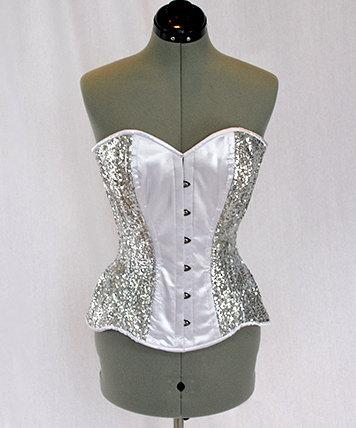 Shiny siquins  and satin overbust authentic corset with long hip-line. Steel-boned corset for tight lacing, prom, gothic, wedding, valentine