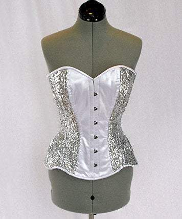 Shiny sequins and satin overbust authentic corset with long hip-line. Steel-boned corset for tight lacing, Poison Ivy cosplay green corset - Corsettery Authentic Corsets USA