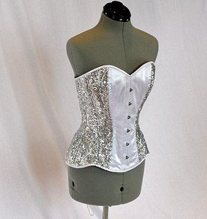 Shiny sequins and satin overbust authentic corset with long hip-line. Steel-boned corset for tight lacing, prom, gothic, wedding, valentine - Corsettery Authentic Corsets USA