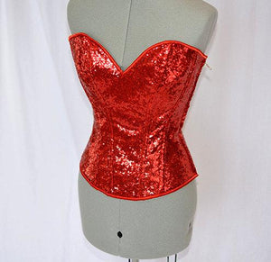 Shiny siquins overbust authentic corset with long hip-line. Steel-boned corset for tight lacing. Prom, vintage, burlesque, valentine corset