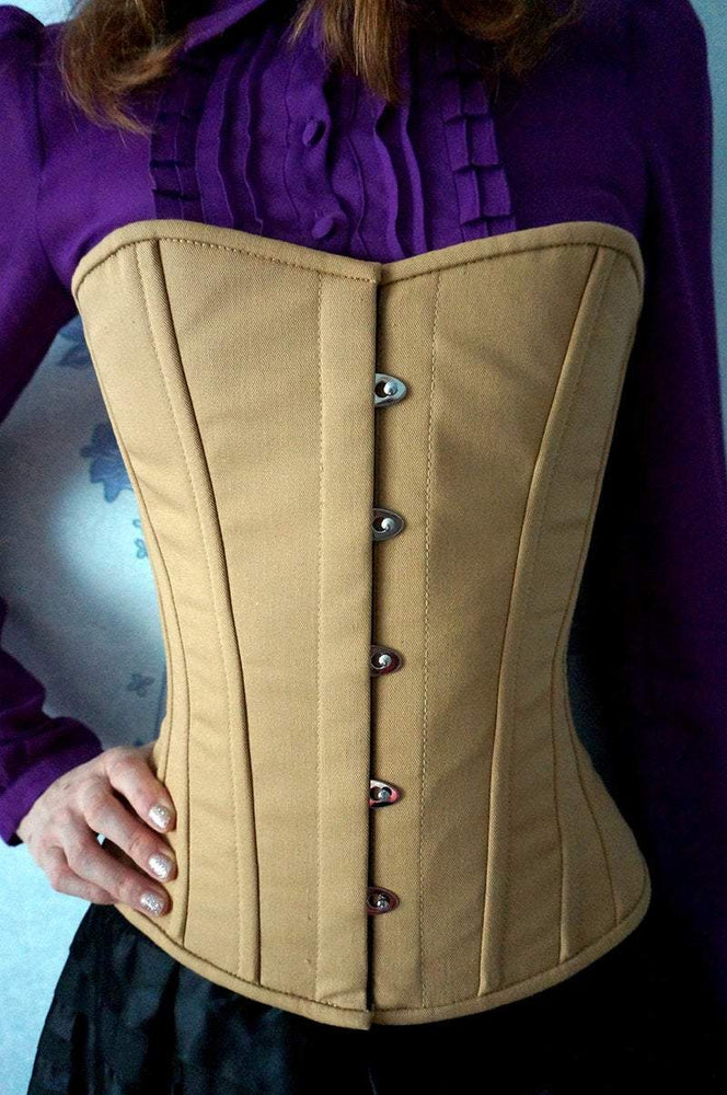 Vintage cotton steel-boned authentic heavy corset, different colors. Gothic, steampunk, historical Victorian, prom corset - Corsettery Authentic Corsets USA