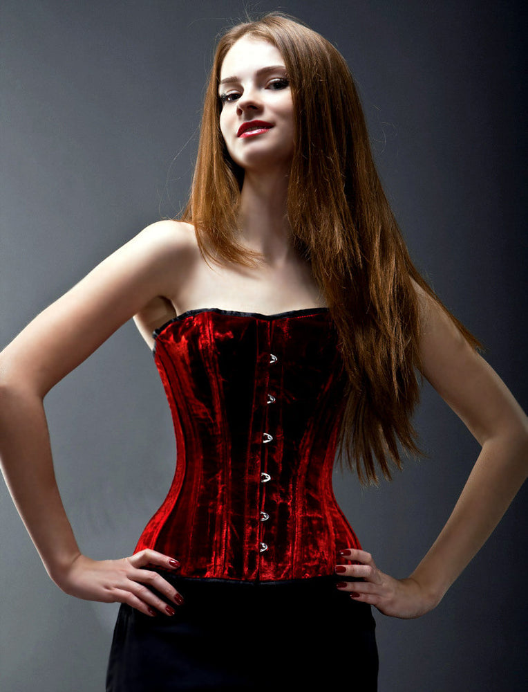 Over bust velvet steel-boned authentic heavy corset for tight lacing made to measures