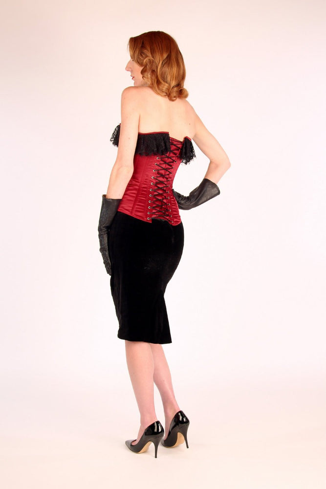 The Maria corset from the Old Hollywood Couture Collection. Luxury gothic satin corset with 3 yards of Chantilly laces. Custom made corset. - Corsettery Authentic Corsets USA