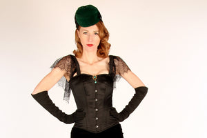 The Mildred Corset. Bespoke high quality authentic corset with brooch and laces on steel bones-Corsettery