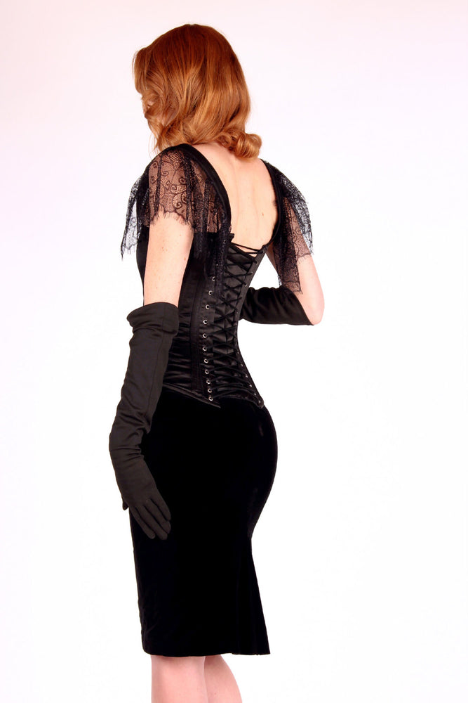 The Mildred Corset. Bespoke high quality authentic corset with brooch and laces on steel bones