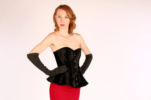 The Ramona Corset. Bespoke high quality authentic peplum style corset from velvet on steel bones, vintage, black gothic, victorian corset.