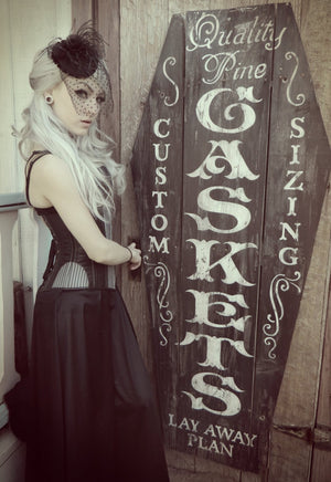 Stylish gothic corset designed by PorcelainPanic, underbust version. Lambskin and fabric gothic steampunk authentic waist training corset