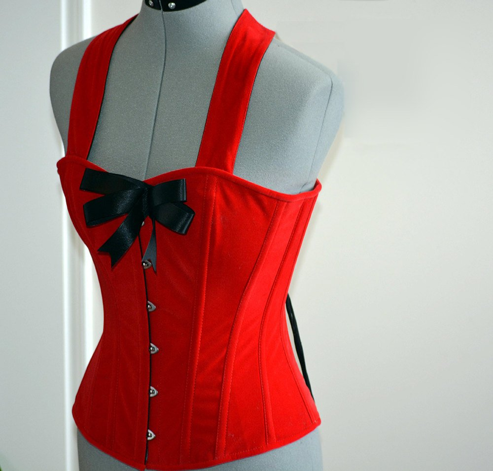 Cute pinup red microfibra (fake suede) custom made corset with bow. Steel-boned overbust corset