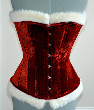 Red velvet with white fur affordable Santa Christmas corset with special price. Corset is made personally according to your measurements. - Corsettery Authentic Corsets USA