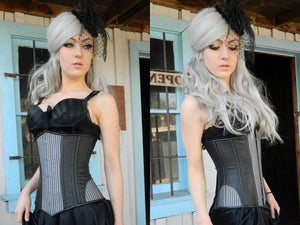 Stylish gothic corset designed by PorcelainPanic, underbust version. Lambskin and fabric gothic steampunk authentic waist training corset - Corsettery Authentic Corsets USA