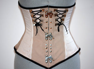 Steel boned underbust steampunk corset from cotton with metal decor with steampunk hooks. Real waist training corset for tight lacing. - Corsettery Authentic Corsets USA
