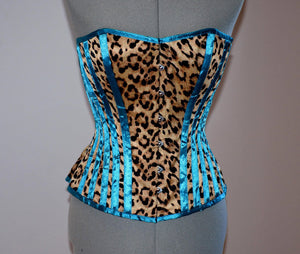 Cheetah and blue satin steel-boned animal print crazy authentic corset. Bespoke made to your measurements. Affordable cheap waist training