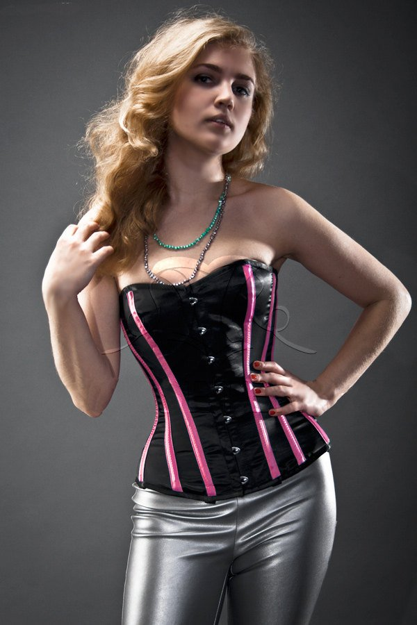 Black and pink satin steel-boned overbust authentic corset. Bespoke made to your measurements - Corsettery Authentic Corsets USA