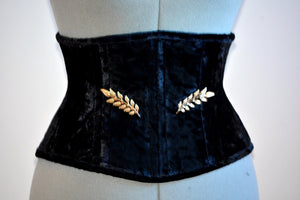 Real authentic corset in the Golden Hollywood style, two rows of steel bones and golden brooches included. Great Gatsby, gothic, vintage - Corsettery Authentic Corsets USA