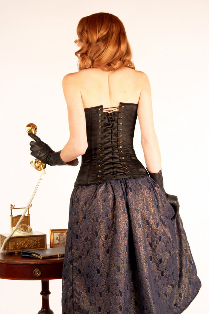 Exclusive satin overbust authentic corset with classy drapery. Steel-boned corset for tight lacing-Corsettery