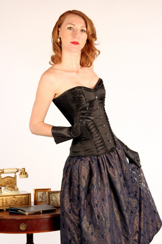 Exclusive satin overbust authentic corset with classy drapery. Steel-boned corset for tight lacing - Corsettery Authentic Corsets USA