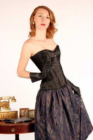 Exclusive satin overbust authentic corset with classy drapery. Steel-boned corset for tight lacing