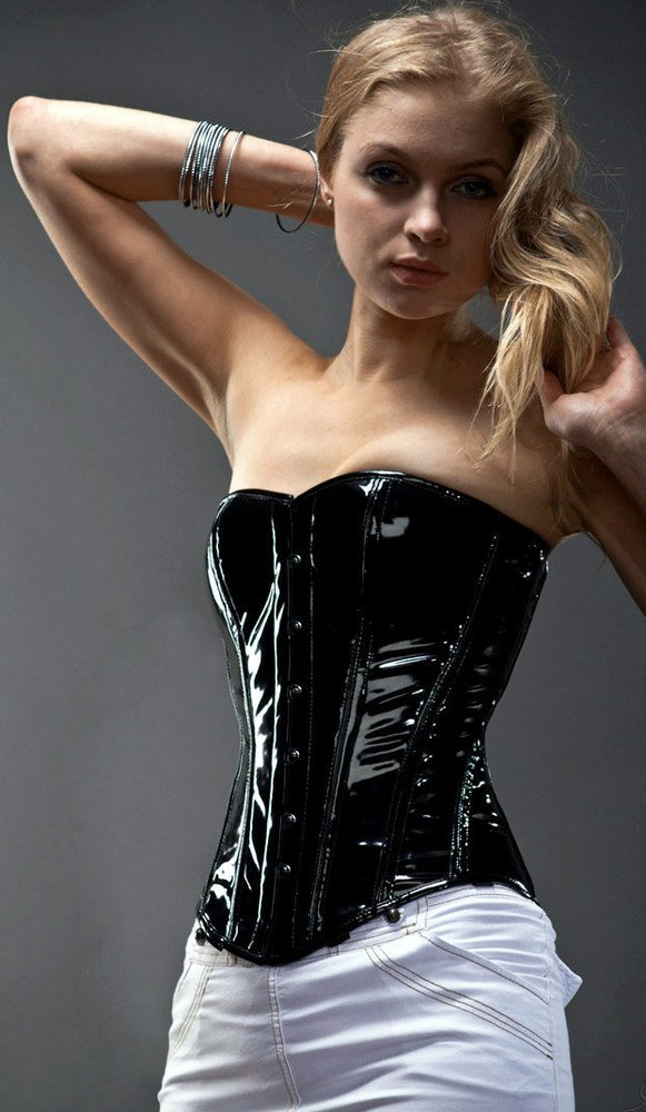 Shiny PVC overbust steel-boned authentic heavy corset, different colors.
