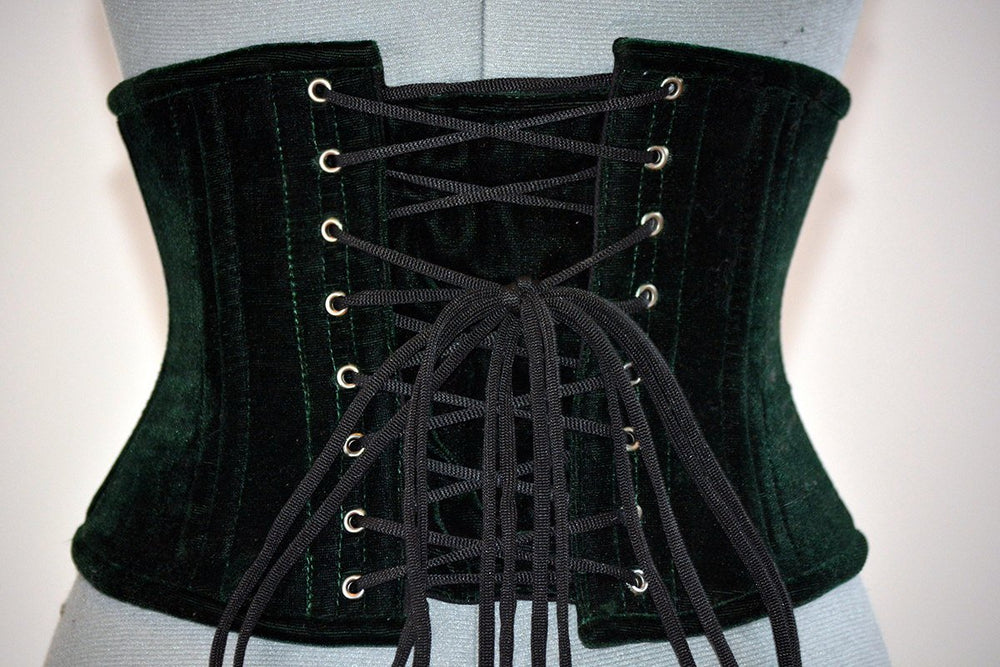 Velvet waspie corset in the Golden Hollywood style, two rows of steel bones. Great Gatsby, gothic, vintage - Corsettery Authentic Corsets USA