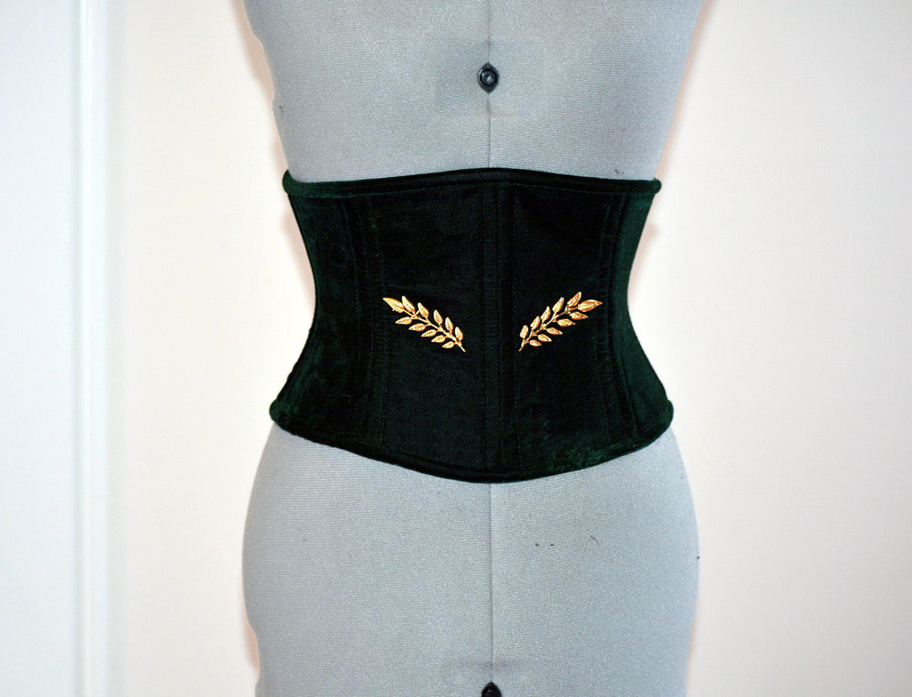 Velvet waspie corset in the Golden Hollywood style, two rows of steel bones. Great Gatsby, gothic, vintage