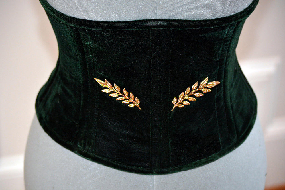 Dark green velvet corset in the Golden Hollywood style, two rows of steel bones and golden brooches included. Great Gatsby, gothic, vintage