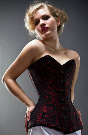 Exclusive long brocade corset, black, blue, red, green available. Gothic, historical, stempunk, prom, gift corset, couture, steel-boned