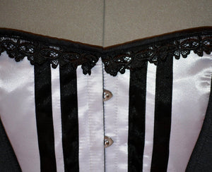 Long black and white satin corset with black lace trim. Gothic, historical, stempunk, prom, gift corset, couture, steel-boned, Victorian