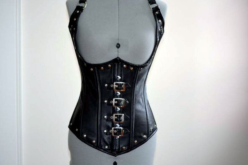 Lambskin steampunk or gothic style corset with metal decor, authentic steel-boned custom made corset for waist training and tight lacing