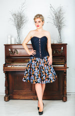 Denim overbust corset from Corsettery Western Collection, blue denim corset